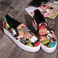 2016 Туфли На Платформе Дамы Холст ShoesFlats Скольжения На Твердых Женщина Отдыха Дышащей Обуви Женской Моды Повседневная Обувь Slipony