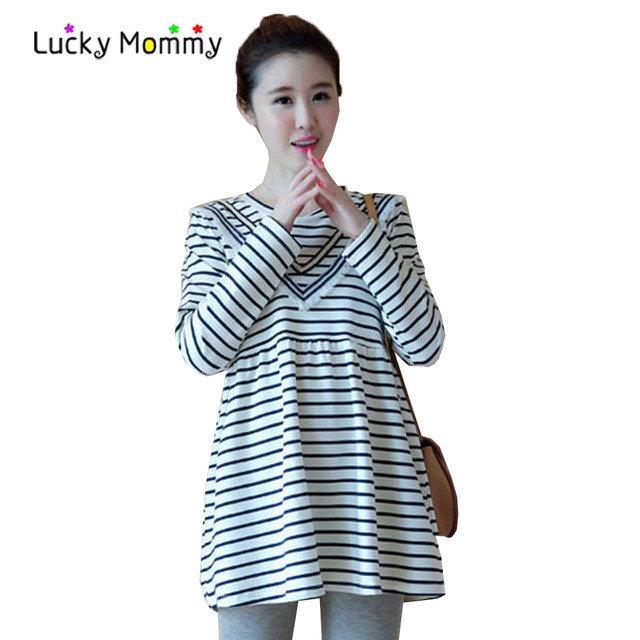 Stripes Maternity T Shirts For Pregnant Women Long Sleeve Pregnancy Tops Spring Maternity Clothes Cotton Pregnancy
