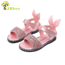 J Ghee 2017 New Baby Girl Sandals Fashion Bling Shiny Rhinestone Toddler Girls Shoes With Rabbit Ear Kids Flat Sandals 13-22CM(China)