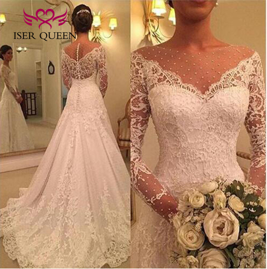 Vintage Lace Wedding Dresses: Illusion A Line Wedding Dresses Long Sleeve Embroidery