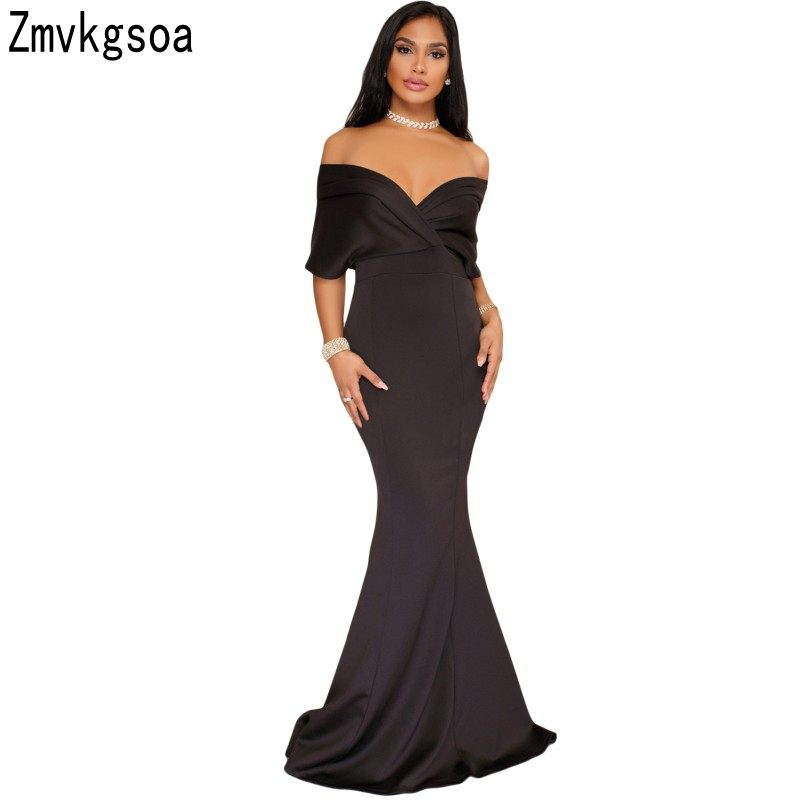 Zmvkgsoa Off The Shoulder Party Gowns Formal Sexy Elegant Backless Mermaid  Zip Maxi Long Dress Vestidos ff6e813e9