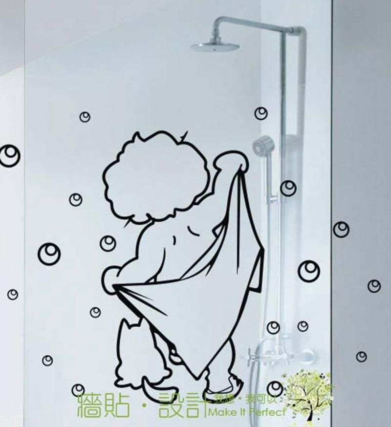 divertente bambino parete di vetro bagno impermeabile adesivi decorativi adesivi murali bagno del bambino di stile