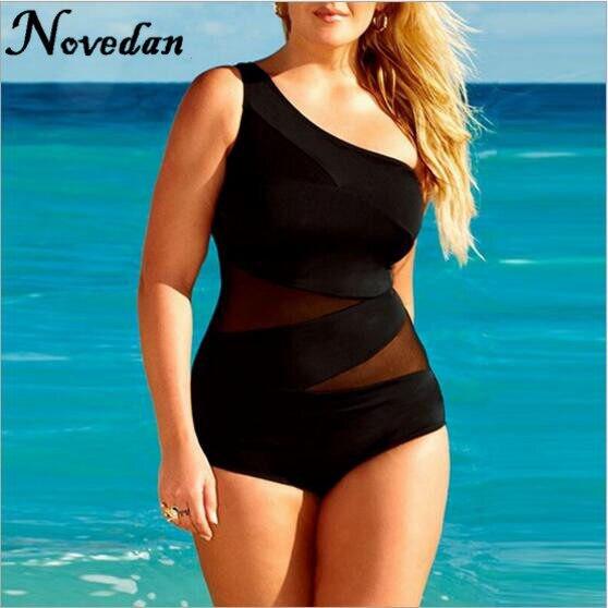 5b56f6faa1d70 Swimwear For Fat Women Plus Size Sport 1 Piece Swimsuit Black Female  Swimwear Large Size XXXL