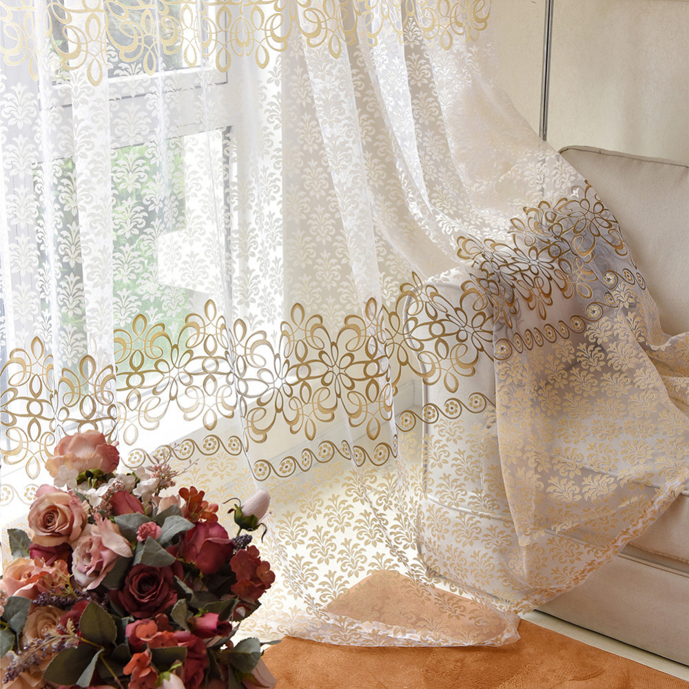 1 Pc Curtain And 1 Pc Tulle Peony Luxury Window Curtains: 1pc Modern Simple European Curtain Screens Living Room