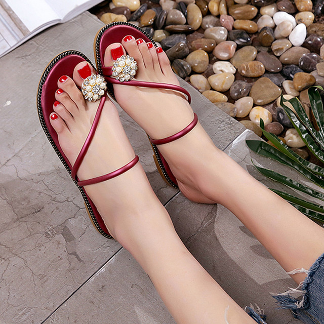 Women Summer Rhinestone Shoes Peep-toe Low Shoes Roman Sandals Ladies Flip Flops
