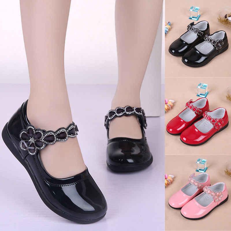 nuevo producto múltiples colores grandes ofertas 2019 nuevos zapatos de cuero para niños con flores para niñas ...