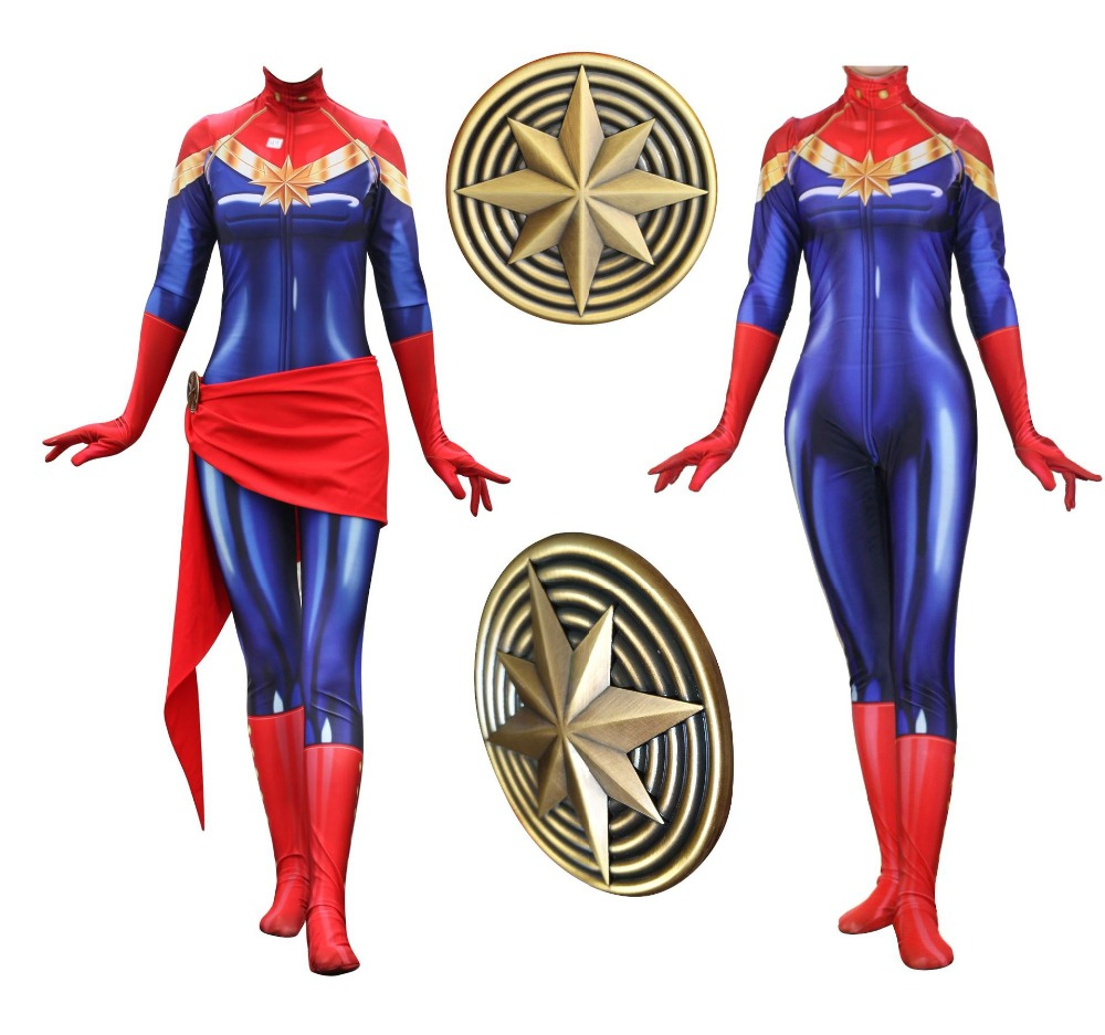 Superhero Captain Marvel Cosplay Costume Brie Larson Ms Marvel Carol Danvers Zentai Jumpsuits Bodysuit fancy ball Halloween suit