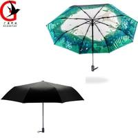 Creative Black Umbrella Classic Animal Painting 3 Fold Black Coating Sunscreen Anti UV Umbrella Personality Rain