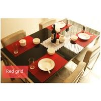 4pcs/Set Trendy Tartan Table Mat 30*45CM PVC Heat Insulation Pad European Style Desktop Ornaments Non-slip Placemat Eat Mat
