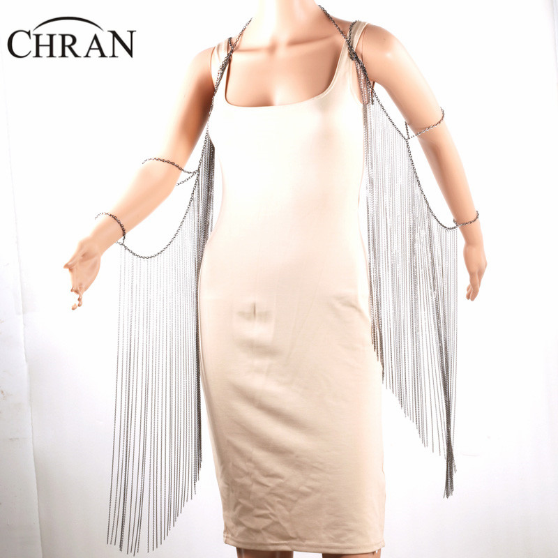 CHRAN Brand Shoulder Chain Arm Accessories Silver Plated Women Tassels Wing Design Jewelry Sexy Women Full Body Jewellery Chain chic simple design branch pattern body chain for women
