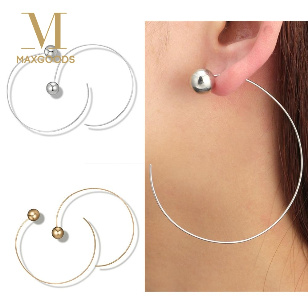 1 Pair Big Circle Earring for Women Exaggerate Round Hoop ...