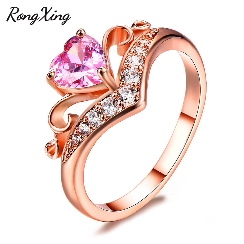 Rapture Rongxing Romantic Pink Heart Cut Crown Rings For Women Rose Gold Filled Leaf Wave Charm Ring Fashion Zircon Wedding Jewelry Gift