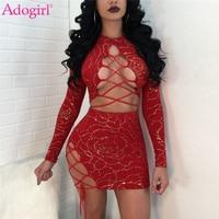 Adogirl 2018 Mode Floral Dorure Deux Piece Night Club Robe Sexy Dentelle Up Évider À Manches Longues Bandage Mini Parti robes