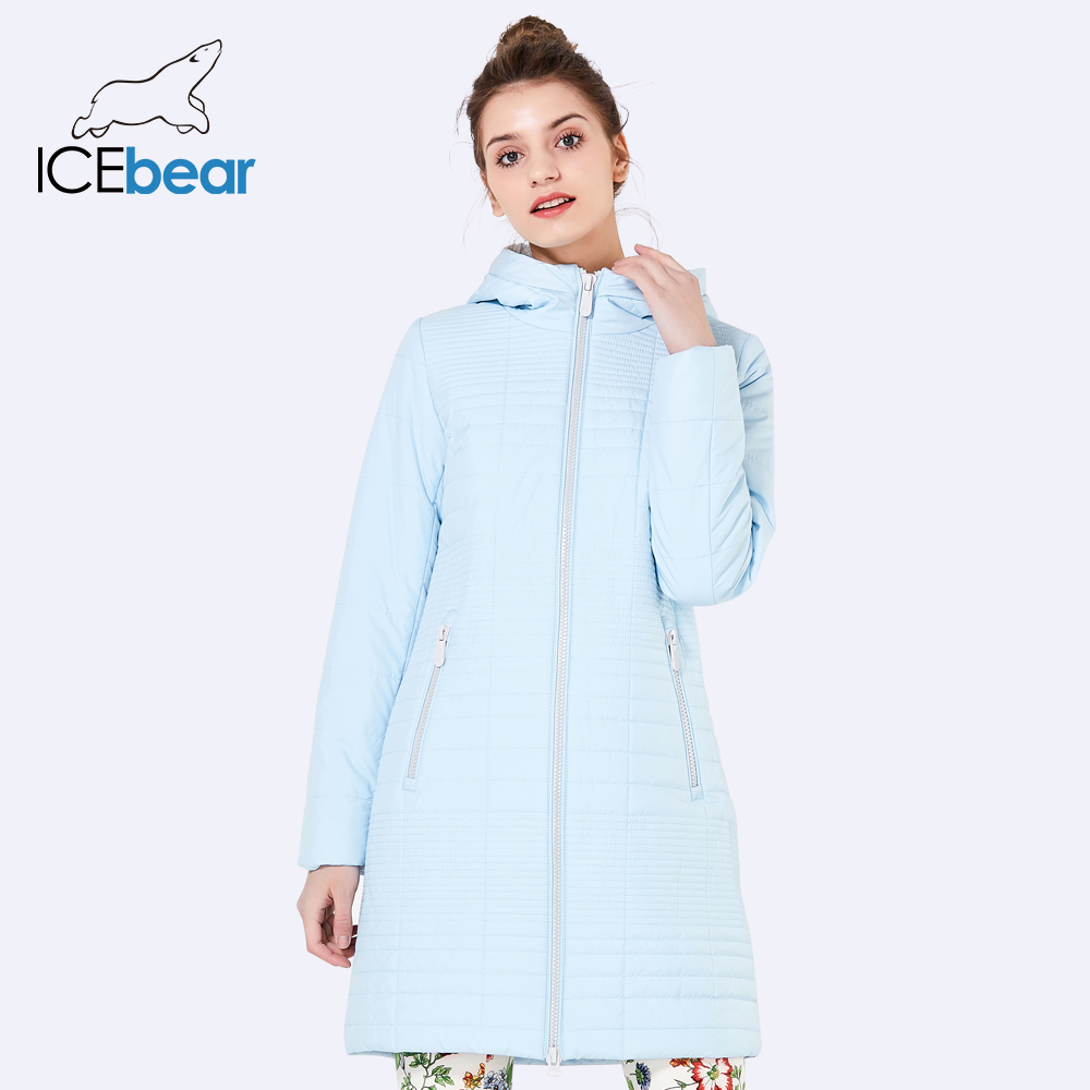 ICEbear 2019 Fall Long Cotton Women's Coats With Hood Fashion Ladies Padded Jacket Parkas For Women 17G292D-in Parkas from Women's Clothing    2
