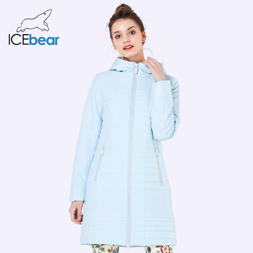 ICEbear 2019 осень длинные Хлопковые женские пальто с капюшоном модные женские пуховики парки для женщин 17G292D