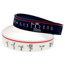 OBH 1PC Focus the Lens Silicone Bracelet Adult Size Black and White