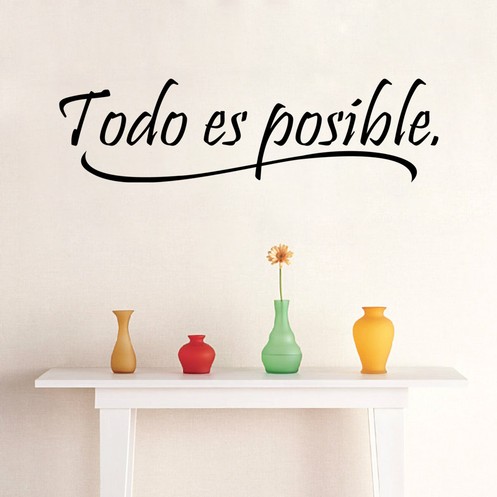 AW9221 Everything Is Possible Spanish Inspiring Quotes Wall Sticker Home  Decor Bedroom Kids Vinyl Wall Mural