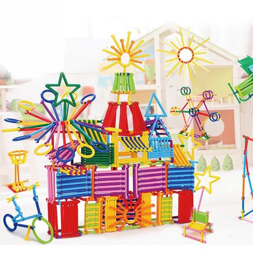 256 pcs Crianças DIY Inteligência Criativa Varas Magia Aprendizagem Precoce Educacional Blocos de Plástico Blocos de Construção de Brinquedos de Presente