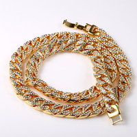 New Statement Fashion Chian Necklace Set 18k Gold Fully Iced Out Hip Hop Miami Cuban Chain