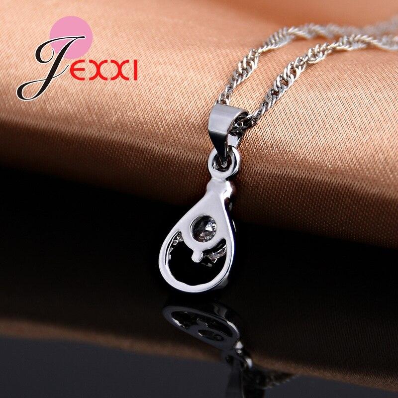 JEXXI Bridal Austrian Crystal Fashion CZ Necklace Earrings Hollow Water Drop 925 Sterling Silver Jewellery Set Wedding