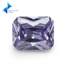 Lavender Color 5A+ Size 4*6~10*12mm Octangle Shape Synthetic Gems Cubic Zirconia For Women