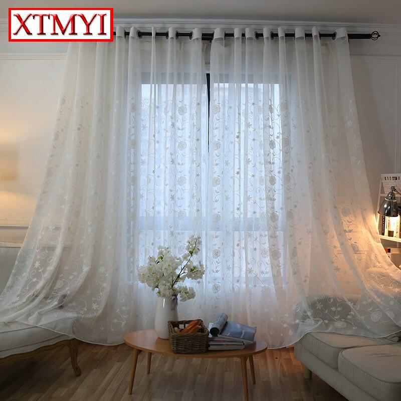 bordados de tule cortinas para sala de estar moderna janela de triagem voile sheer cortinas para
