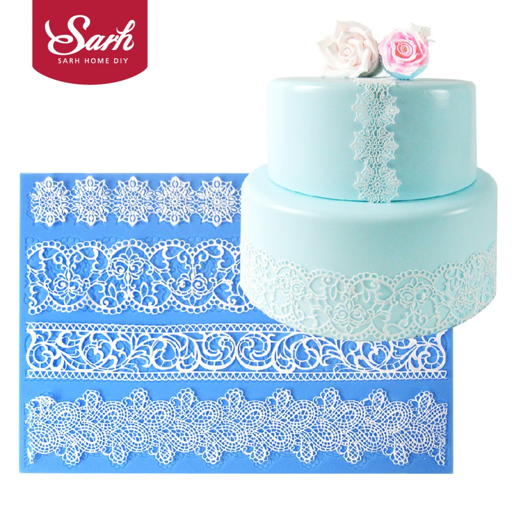 L108 European <font><b>Four</b></font> Shape Flower Collections Lace Border Decoration Fondant Cake Lace Mold Baking Tool <font><b>Kitchen</b></font> Baking Accessory