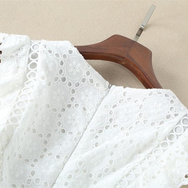 Women Party Dress Designer Runway Elegant Short Sleeve V Neck Cutout