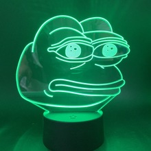 Pepe The Frog Funny Bitter Emoji 3d Led Night Light Gift for Kids Child Birthday Nightlight Home Bedroom Decorative Table Lamp
