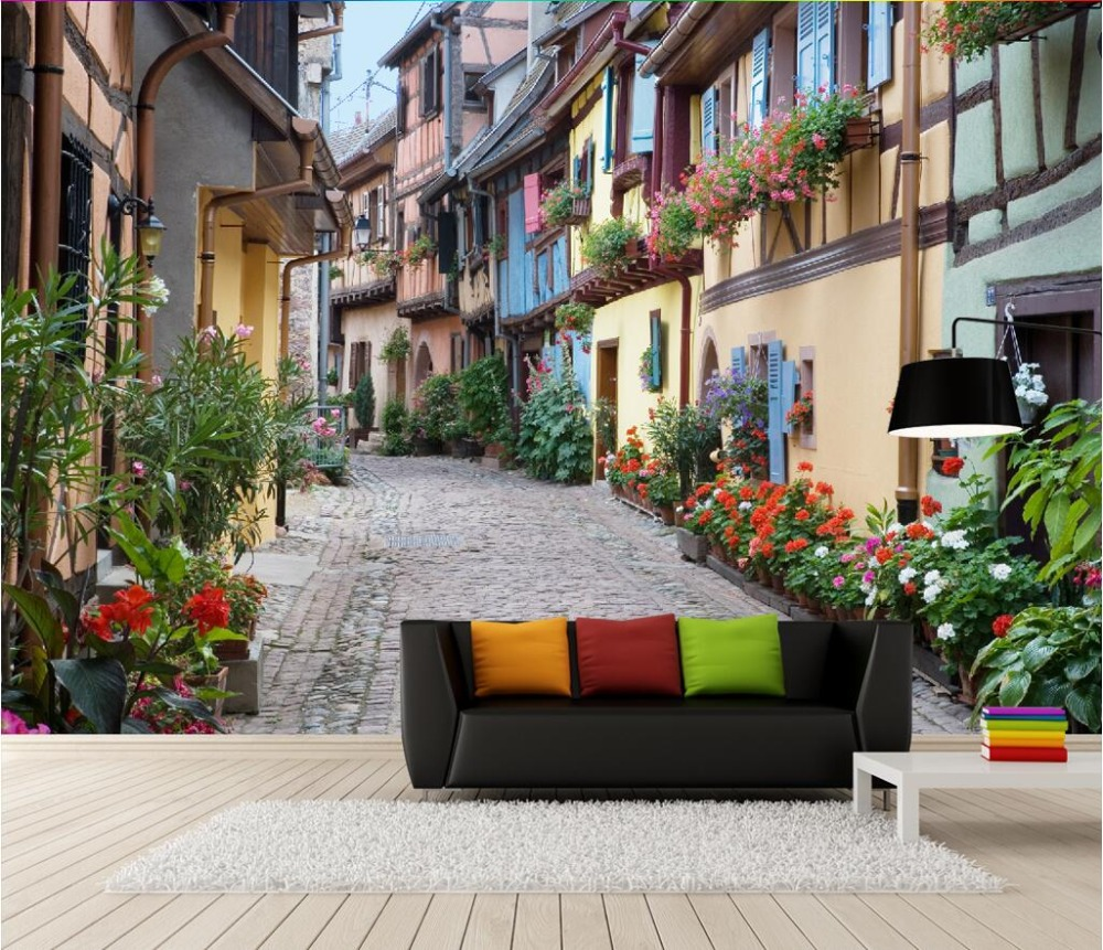 Custom photo 3d wallpaper Non-woven mural 3d wall murals wallpaper for walls 3 d European town streets of flowers room painting 3d room wallpaper custom mural non woven 3 d european angel figure looking down ceiling mural photo wallpaper for walls 3d