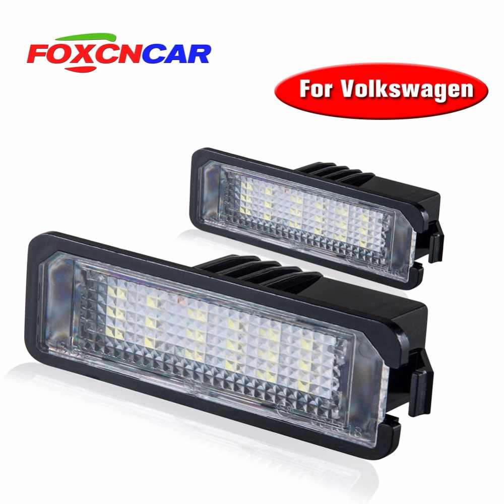Foxcncar 2*White 18 LED 3528 SMD Number License Plate Lights Lamp For Volkswagen GOL Lupo Polo 9N Passat CC Ibiza Leon2 pare S