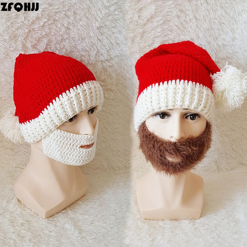 ZFQHJJ Unisex Adult Christmas Hat Santa Claus Knit Beanie Hats with full white / brown Beard Long Acrylic Yarn Pompom for Xmas deluxe santa christmas santa claus wig beard set christmas fancy dress claus beard heat resistant cosplay full hair wigs