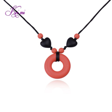 New fashion jewelry silicone round heart pendant necklaces women simple necklace christmas gifts silicone Infant Molar Necklace