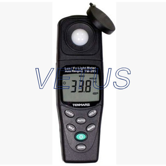 TENMARS TM-205 Auto Ranging Light Meter LCD LUX Meter with measuring range 20,200,2000,20000,200000 tm 204 light meter with 3 1 2 digits lcd with maximum reading 2000