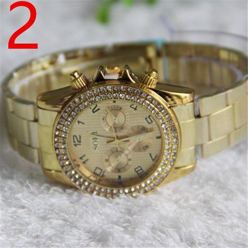 2019 new watch men's casual middle-aged men's gold steel belt net red quartz watch 210# 2