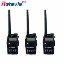 3Pcs Team Handy Radio Walkie Talkie Retevis RT5R 5W VOX CTCSS/DCS FM Radio VHF UHF Ham Portable CB Radio Comunicador Scanner