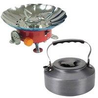 Aotu Portable Folding Lotus Style Windproof Outdoor Butane Gas Stove Head & 1.1L Aluminum Water Kettle Teapot Set