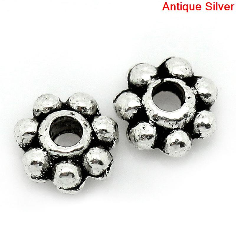 DoreenBeads Zinc Metal Alloy Spacer Beads Flower Antique Silver Color About 4mm(1/8