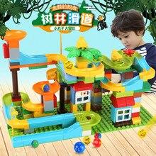 153PCS Marble Race Run Maze Balls Building Blocks Jungle Adventure Track Forest Slipway Bricks  Duplo Toys