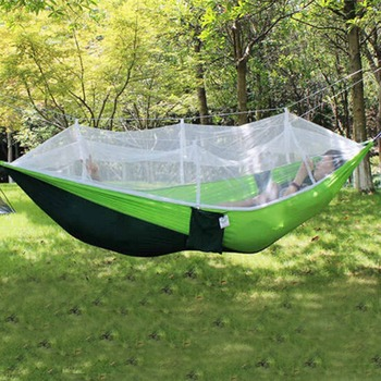 Portable Outdoor Hammock Hanging Bed Nylon Fabric Sleeping Bed + Mosquito Net Tactical Large Load Traveling Camping Hammock 4