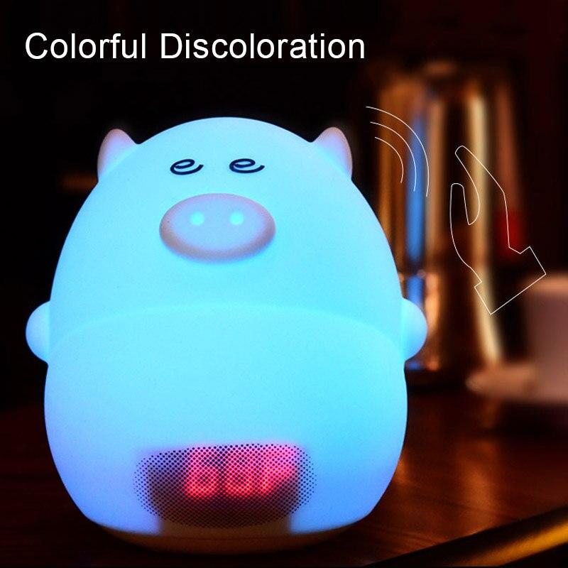 Детей свет в ночь с рисунком поросенка Будильник USB Зарядное устройство время Температура Дисплей лампы для малыша Спальня подарок CLH @ 8
