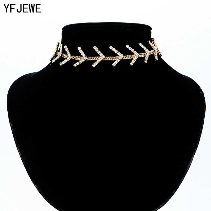 YFJEWE Women Full Rhinestone Pendant Jewelry Collar Necklace Arrow Line Wedding Clavicle Necklaces Choker Necklace N353
