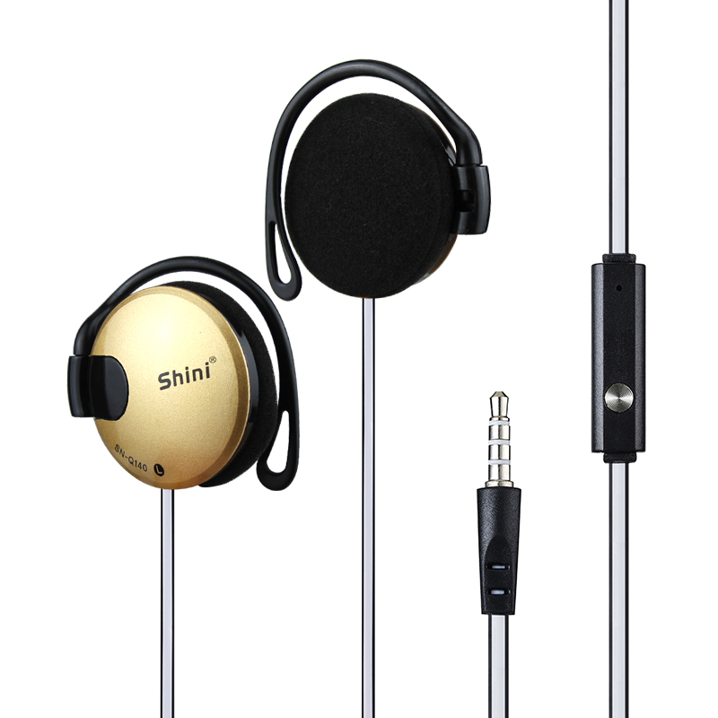 Hot Sale Baru !!! Shini Q140 Stereo EarHook Earphone Earbud Super Bass Headset Handsfree 3.5 MM Dengan MIC 9 Warna Gratis Pengiriman