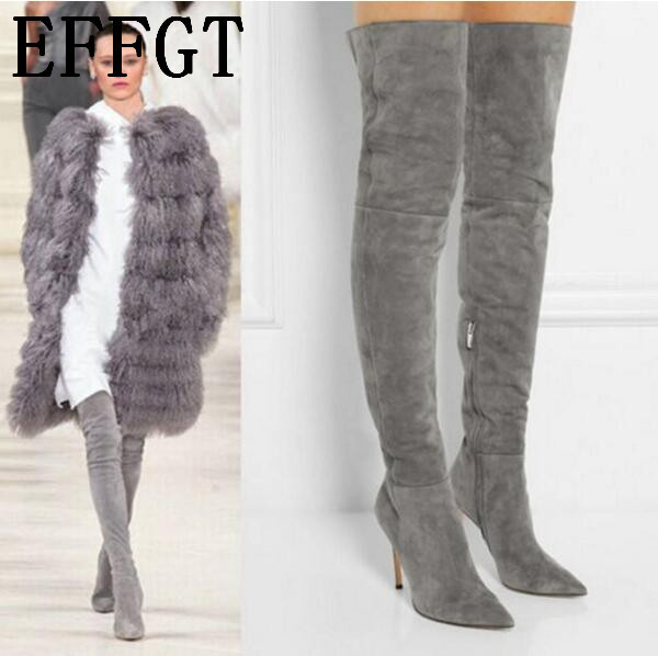 EFFGT 2017 NEW Women boots Stretch Real Suede Slim Thigh High Boots Sexy Fashion Over the Knee Boots High Heels Woman Shoes Z703