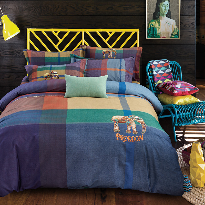 2017 New Plaid Bedding Set sanding cotton Bed Sheet Cozy Duvet Cover Sets Bedspread Queen/King Size Jogo de Cama2017 New Plaid Bedding Set sanding cotton Bed Sheet Cozy Duvet Cover Sets Bedspread Queen/King Size Jogo de Cama