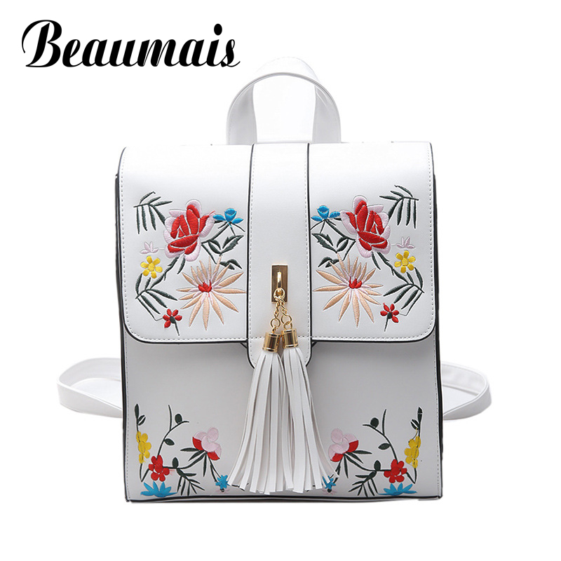 Beaumais Pu Leather Backpacks Tassel School Bags For Teenager Girls Embroidery Women Backpack Shoulder Bag Travel