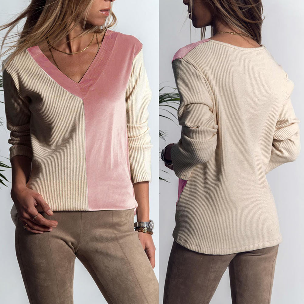 Women Autumn Tops Pullover V Neck Patchwork Long Sleeves Slim Fit Casual Sweater FS99