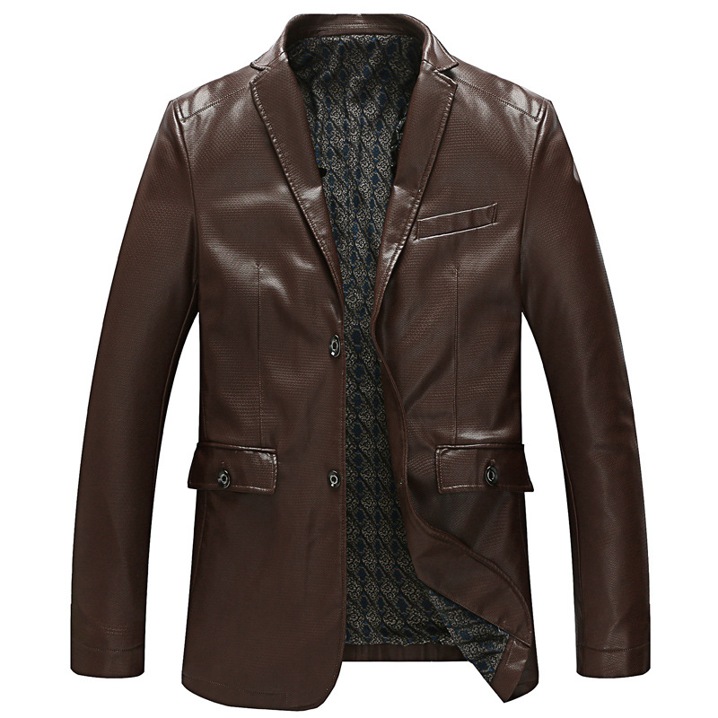 2016 men's leather coat plus-size Cultivate one's morality men's leather suit PU leather L-8XL