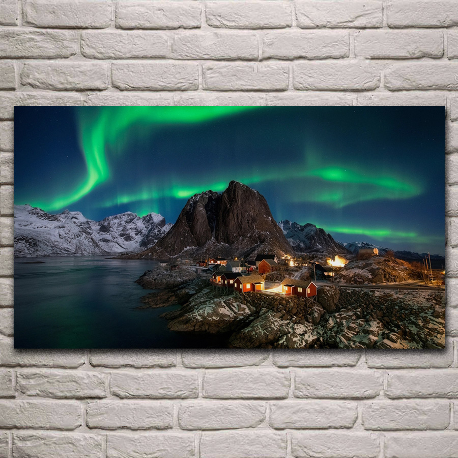 Decoration Home Posters Norway Wood Scan Frame Wall Living-Room Winter Fabric KH729 Island