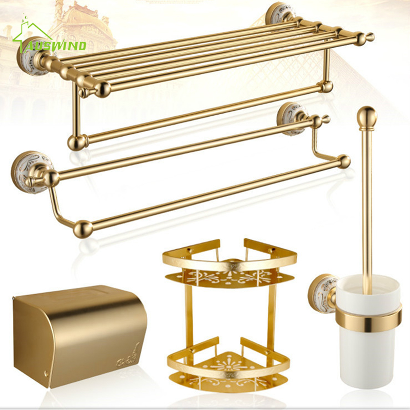 Space Aluminum Accessories Carved Products Luxury Titanium Gold Bathroom Hardware Sets Antique